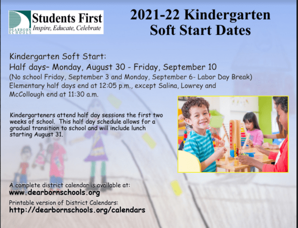 Important Reminder for our Kindergarten Parents