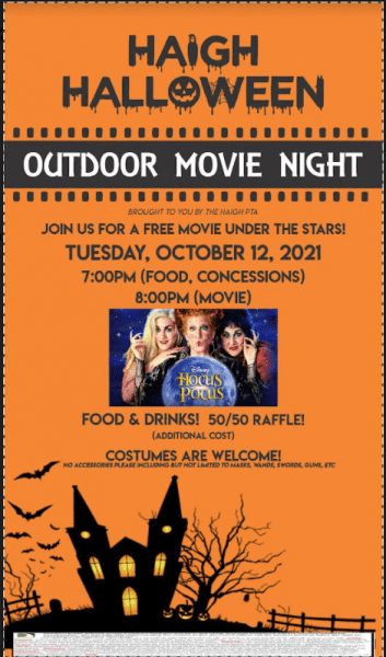 Haigh Movie Night, Rescheduled for Tuesday, October 12th